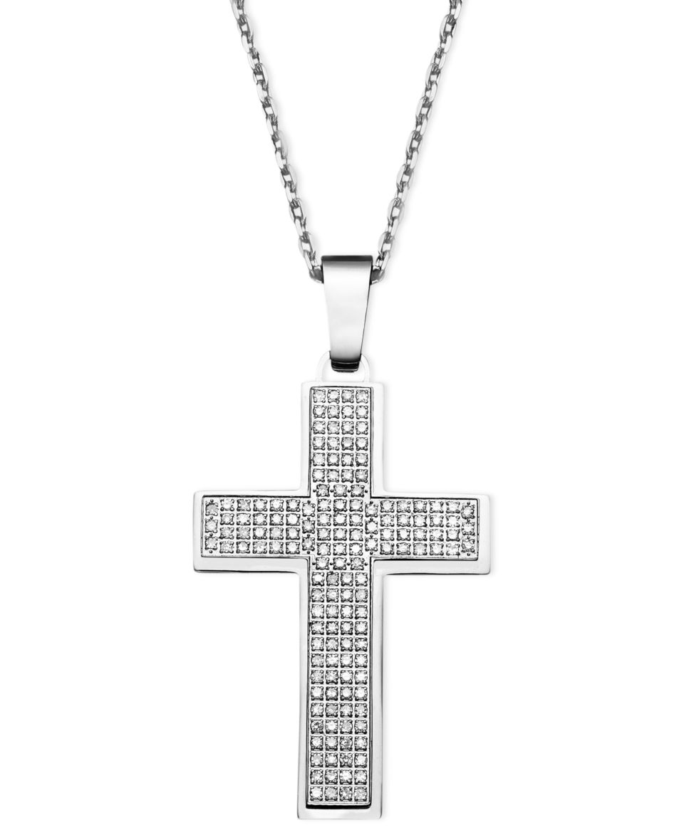 Mens Diamond Necklace, Stainless Steel Diamond Cross Pendant (1/2 ct. t.w.)   Necklaces   Jewelry & Watches