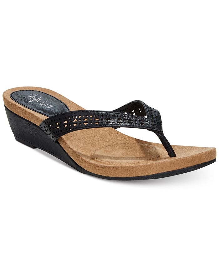 Style & Co - Haloe Wedge Thong Sandals