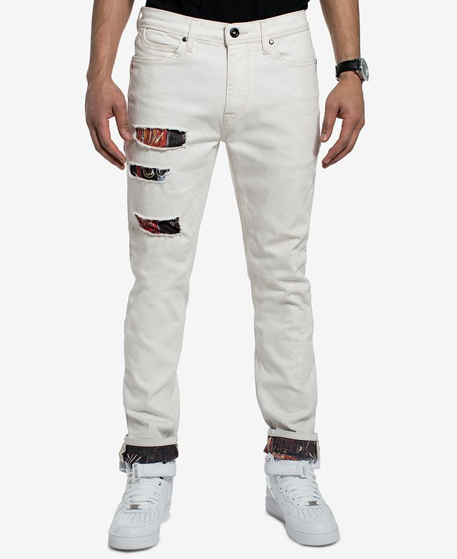 Sean John Men's Basquiat Ripped Printed Slim Straight Fit Stretch Jeans, Created for Macy's