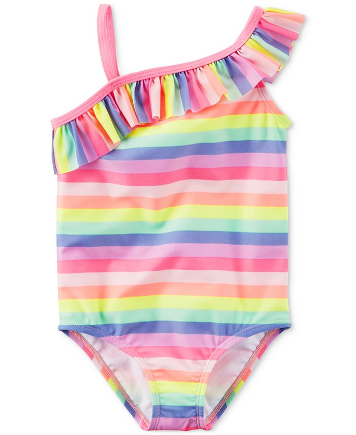 Carter's - 1-Pc. Ruffled Rainbow Swimsuit, Little Girls