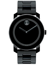 Movado Unisex Swiss Bold Large Black Polymer Bracelet Watch 42mm 3600047