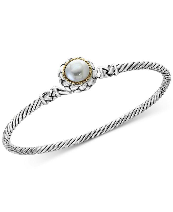 EFFY Collection - Cultured Freshwater Pearl (9mm) Bangle Bracelet in Sterling Silver & 18k Gold