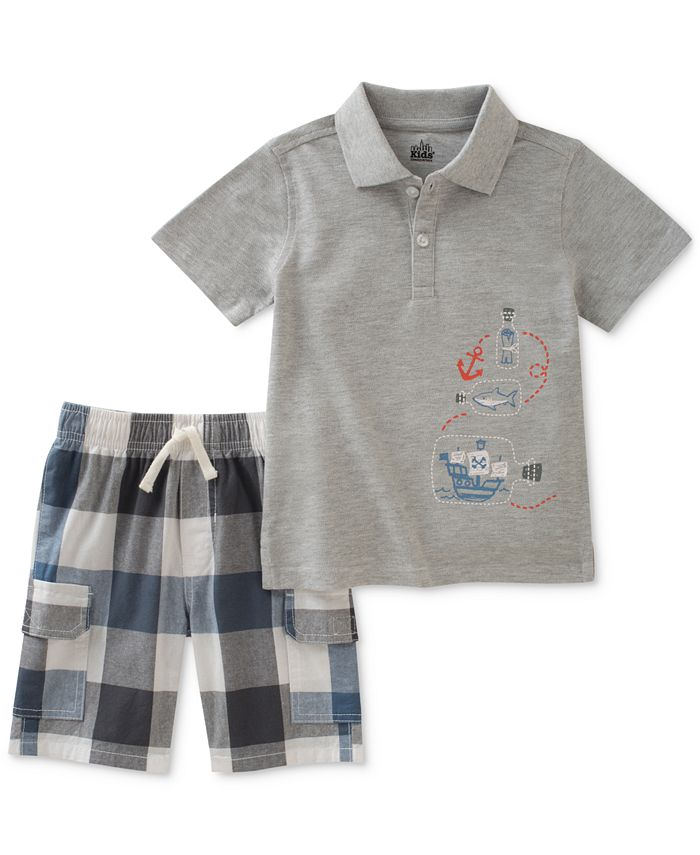 Kids Headquarters - 2-Pc. Graphic-Print Cotton Polo & Checked Shorts Set, Little Boys