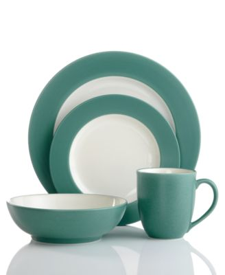 Noritake Dinnerware, Colorwave Turquoise Rim 4 Piece Place Setting