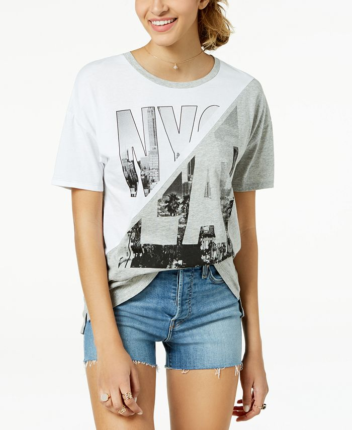 Pretty Rebellious - Juniors' Cotton NY/LA Graphic-Print T-Shirt