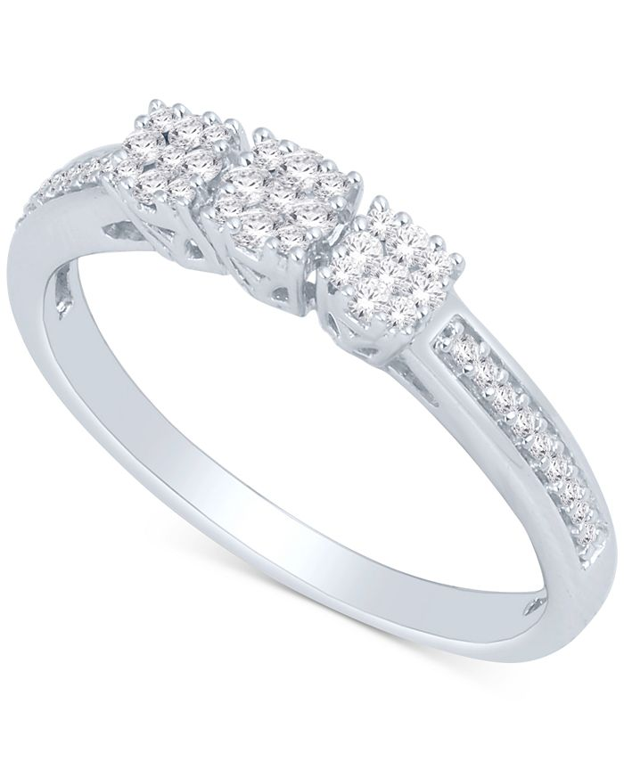 Macy's - Diamond Square Cluster Ring (1/4 ct. t.w.) in Sterling Silver