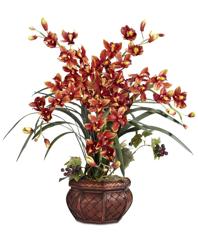 Nearly Natural Cymbidium Arrangement with Decorative Vase