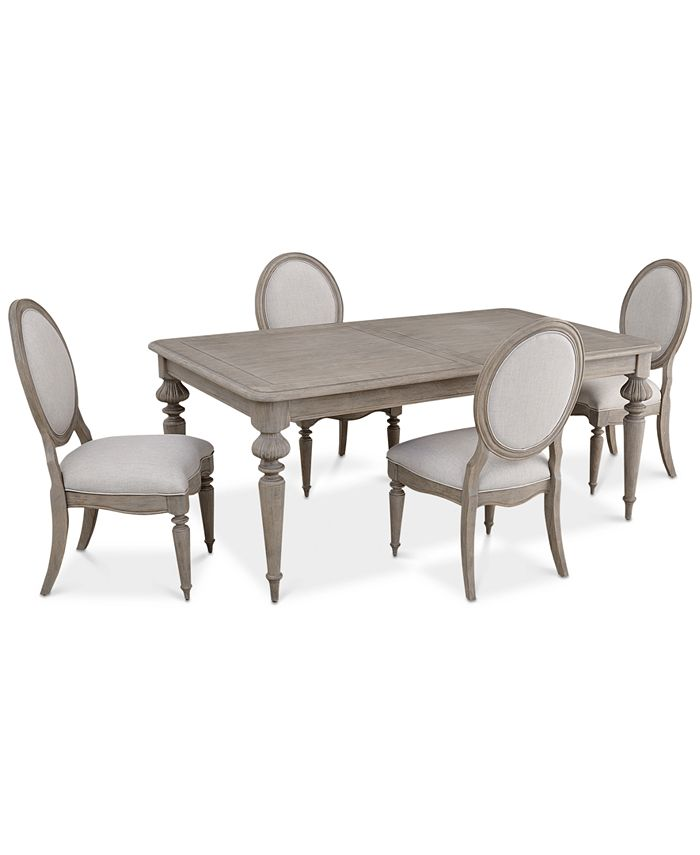 Furniture - Elina Expandable Dining , 5-Pc. Set (Dining Table & 4 Upholstered Side Chairs)