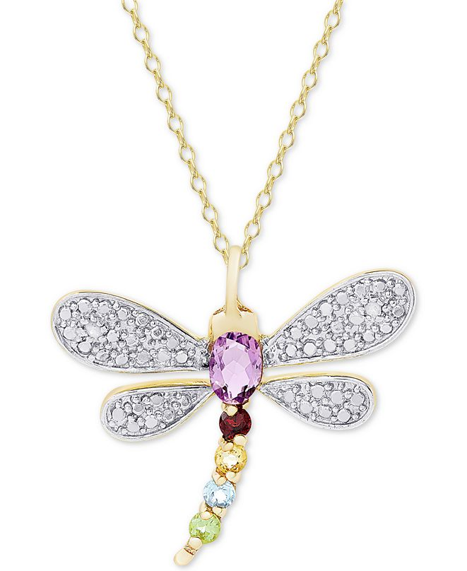 """Macy's Multi-Gemstone (5/8 ct. t.w.) & Diamond Accent Dragonfly 18"""" Pendant Necklace in 18K Gold-Plated Sterling Silver"""