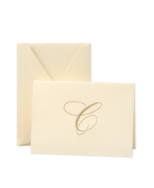 Crane Stationery, Hand Engraved Gold Script Initial Note Cards