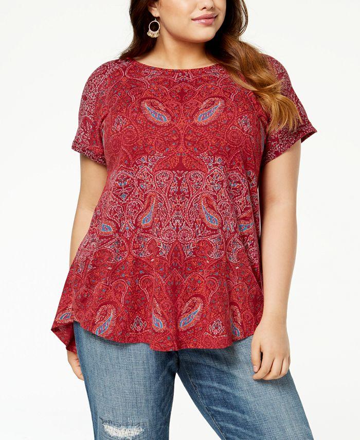Lucky Brand - Trendy Plus Size Paisley-Print T-Shirt