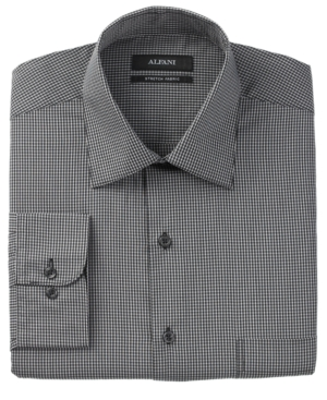 Alfani Dress Shirt, Black and White Mini Check Long Sleeve Shirt