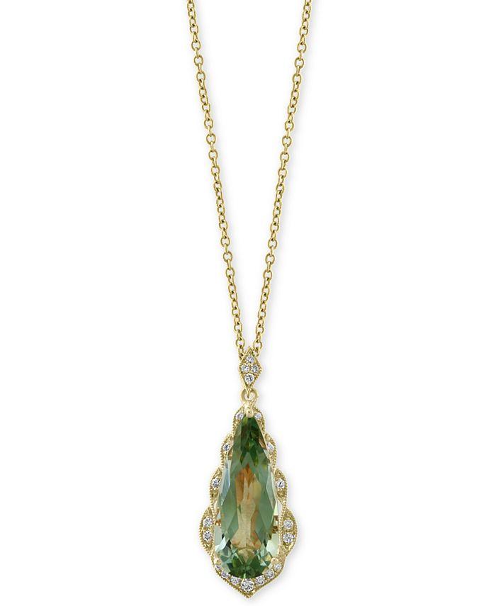 "EFFY Collection - Green Quartz (4 ct. t.w.) & Diamond (1/8 ct. t.w.) 18"" Pendant Necklace in 14k Gold"