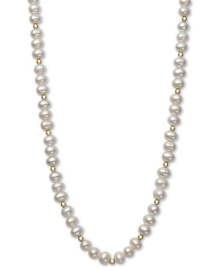 Macy's - Children's Cultured Freshwater Pearl (5-6mm) & Bead Necklace in 14k Gold