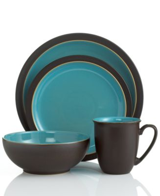 Denby Dinnerware, Duets Brown and Turquoise 4 Piece Place Setting