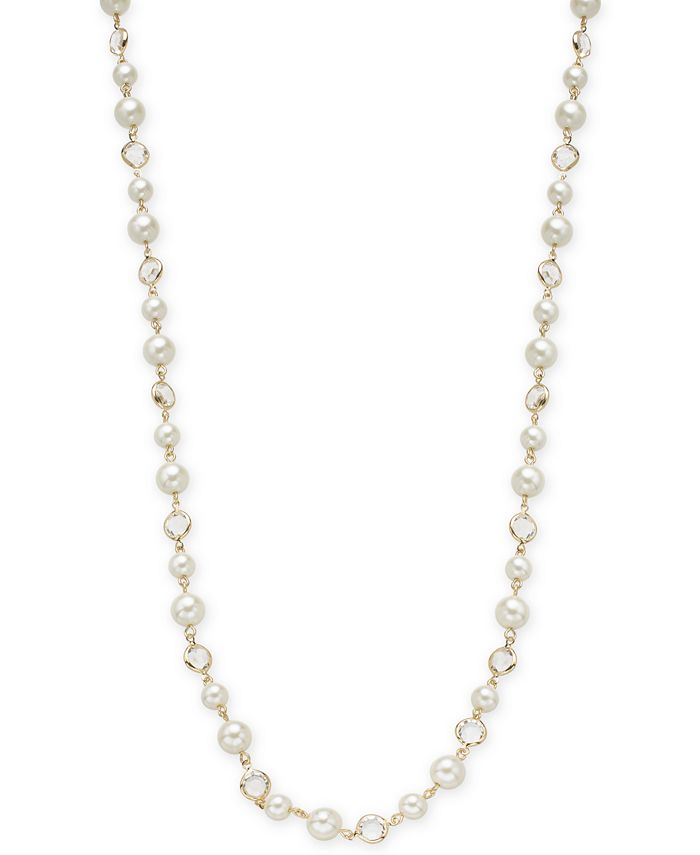 """Charter Club - Silver-Tone Crystal & Imitation Pearl Strand Necklace, 42"""" + 2"""" extender"""