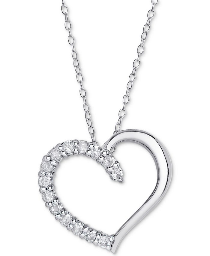 "Macy's - Diamond Heart Pendant Necklace (1/2 ct. t.w.), 16"" + 2"" extender"