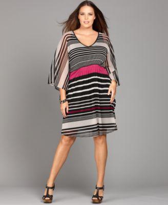 INC International Concepts Plus Size Dress, Three Quarter Sleeve Striped