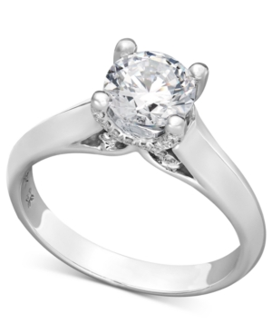 X3 Certified Diamond Solitaire Engagement Ring in 18k White Gold (1-1/4 ct. t.w.)