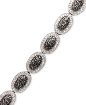 Diamond Bracelet, Sterling Silver Black and White Diamond Oval Bracelet (1/2 ct. t.w.)