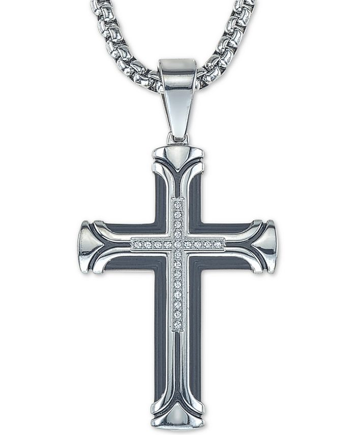 """Esquire Men's Jewelry - Diamond Cross 22"""" Pendant Necklace (1/10 ct. t.w.) in Ion-Plated Stainless Steel"""