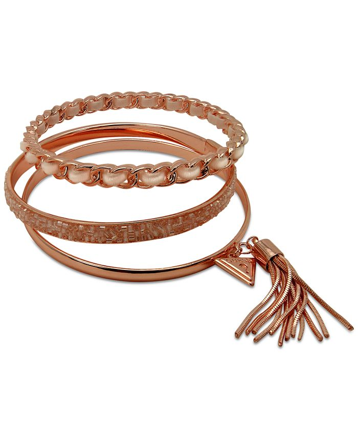 GUESS - Gold-Tone 3-Pc. Set Black Bead & Faux Suede Bangle Bracelets