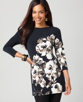 Style&co. Tunic, Three Quarter Sleeve Floral Printed Dress