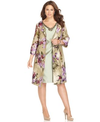 Tiana B Plus Size Dress and Jacket, Sleeveless Beaded V-Neck