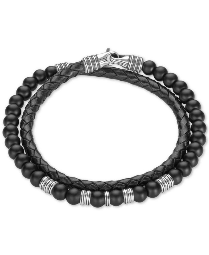Esquire Men's Jewelry Onyx (6mm) Beaded Black Leather Wrap Bracelet in Sterling Silver, Created for Macy's & Reviews - Bracelets - Jewelry & Watches - Macy's