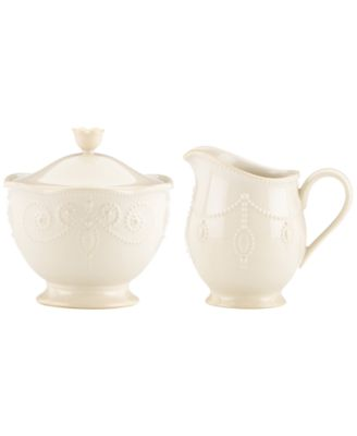 Lenox Dinnerware, French Perle White Sugar and Creamer Set