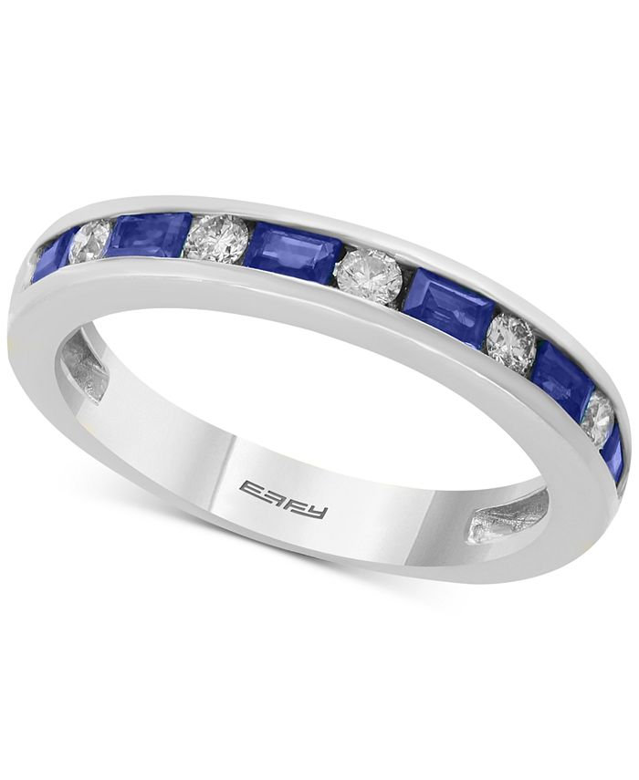 EFFY Collection - Bridal by EFFY® Sapphire (5/8 ct. t.w.) & Diamond (1/6 ct. t.w.) Band in 18k White Gold