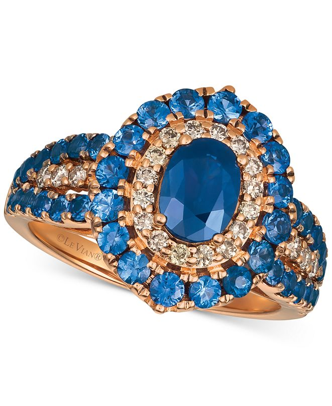 Le Vian Strawberry & Nude™ Blueberry Sapphire™ (2-1/5 ct. t.w.) & Diamond (1/4 ct. t.w.) Ring in 14k Rose Gold