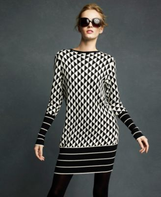 Karl Lagerfeld for Impulse Dress, Long Sleeve Triangle Pattern Sweater