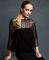 Karl Lagerfeld for Impulse Top, Three Quarter Sleeve Crochet Lace Sequined