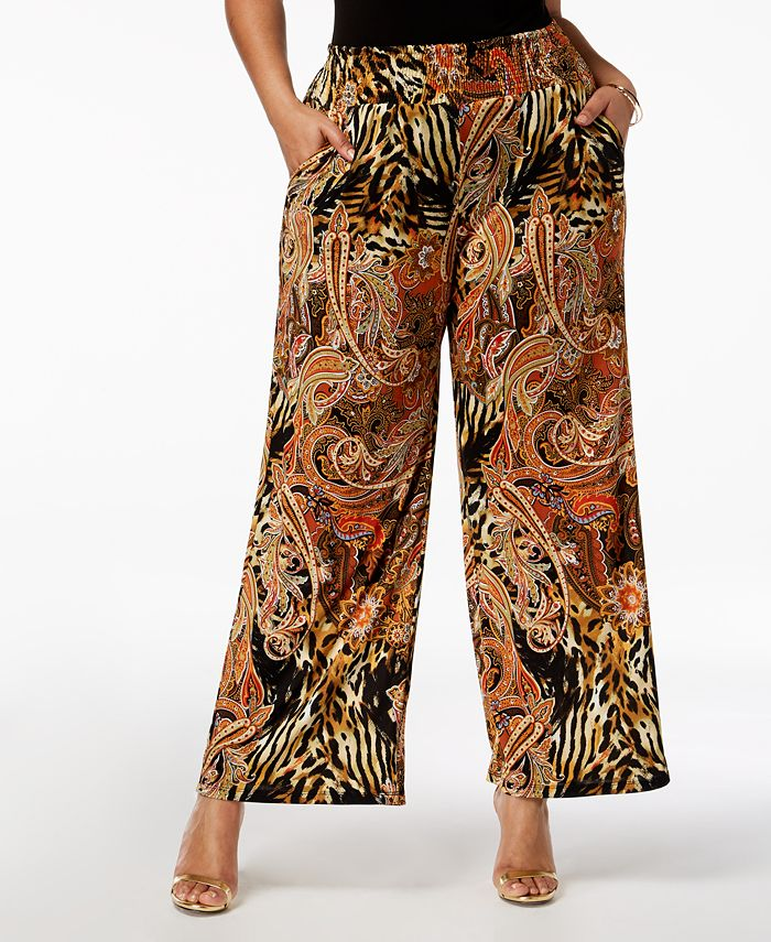 NY Collection - Plus Size Printed Wide-Leg Pants