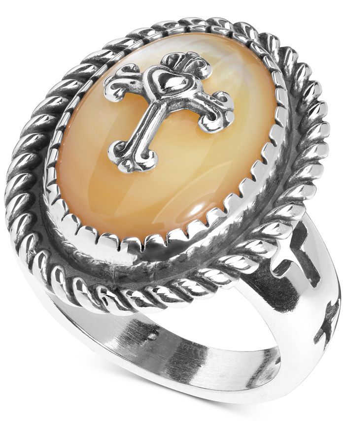 American West - Mother-of-Pearl Doublet Cross Ring in Sterling Silver