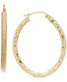 Textured Oval Hoop Earrings in 14k Gold, 1-3/8 inch