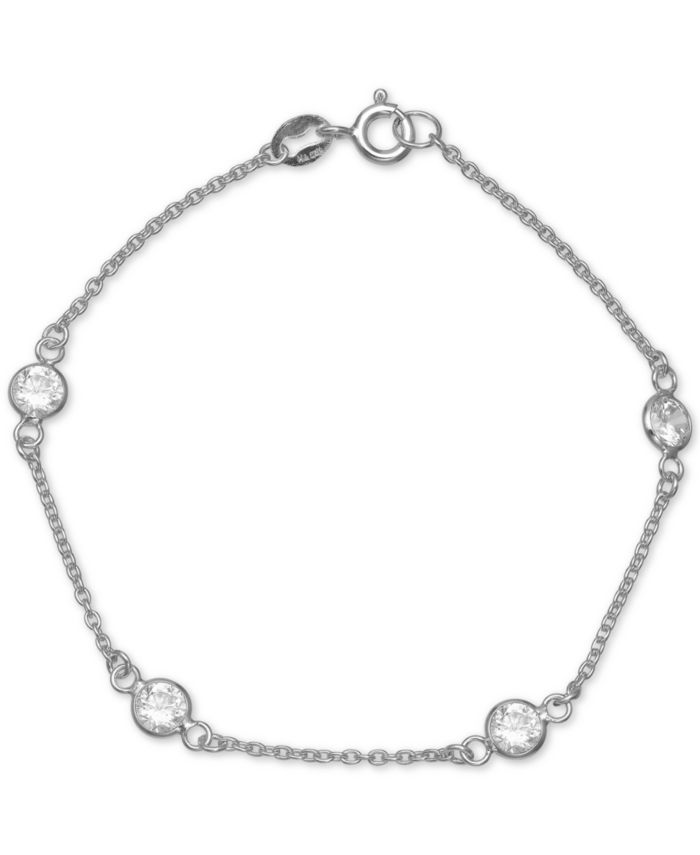 Giani Bernini Cubic Zirconia Station Bracelet in Sterling Silver, Created for Macy's  & Reviews - Bracelets - Jewelry & Watches - Macy's