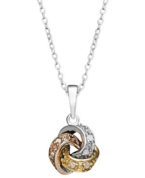 Diamond Necklace, Tri Tone Diamond Love Knot Pendant (1/10 ct. t.w.)