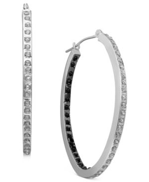 14k White Gold Earrings, Black and White Diamond Accent Oval Hoop Earrings