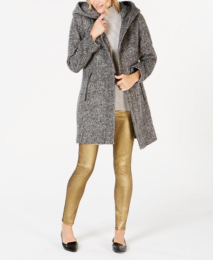 Cole Haan - Faux-Leather-Trim Hooded Walker Coat