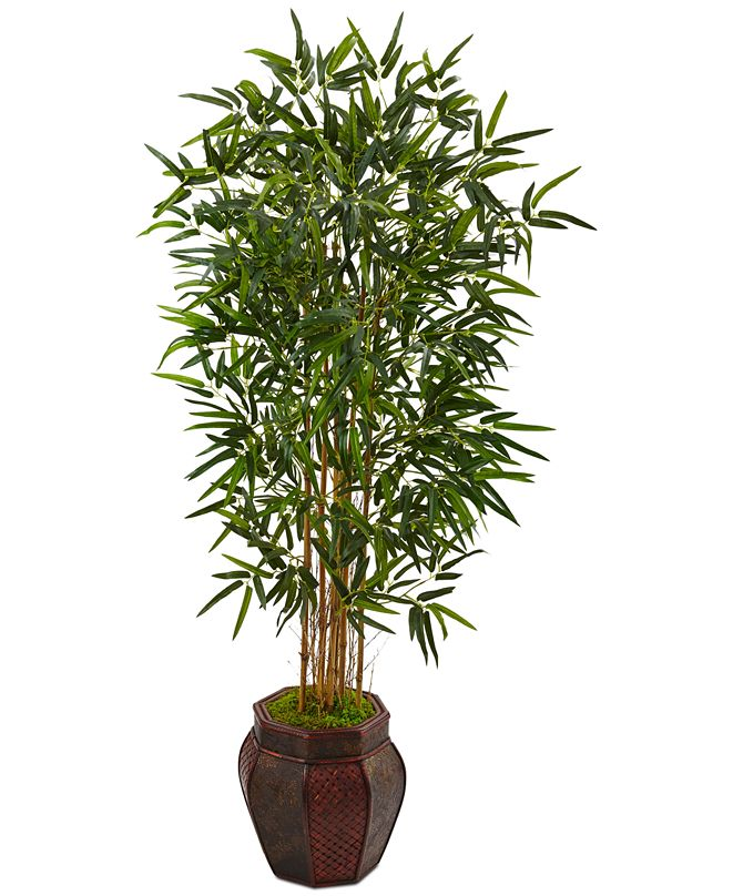 Nearly Natural 5' Bamboo Artificial Tree in Weave-Design Planter