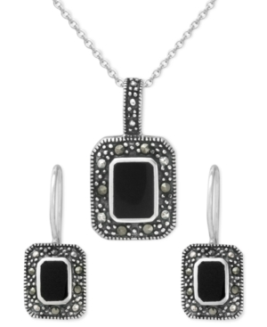 Genevieve & Grace Sterling Silver Pendant and Earrings Set, Rectangle Onyx (4-8 mm) and Marcasite Rectangle