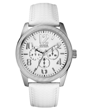 GUESS Watch, Men's White Leather Strap 45mm U10645G2