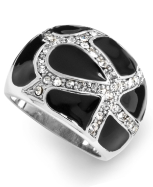 City by City Ring, Jet Enamel and Crystal Dome Ring