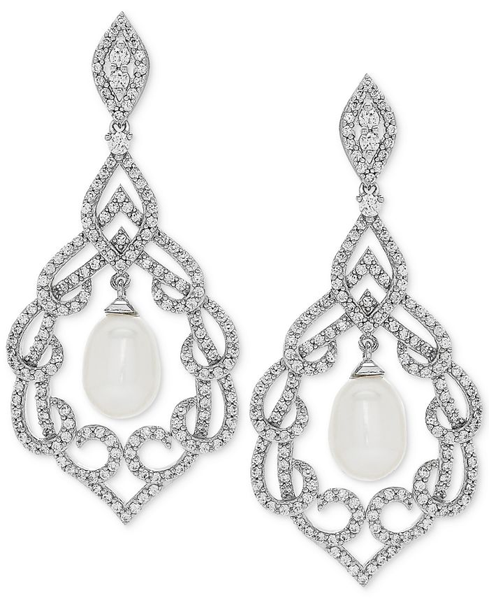 Arabella - Cultured Freshwater Pearl (7mm) & Swarovski Zirconia Orbital Drop Earrings in Sterling Silver