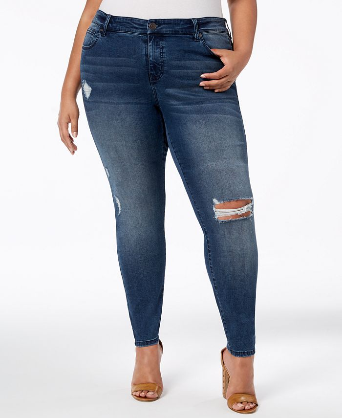 Celebrity Pink - Plus Size Ripped Skinny Jeans