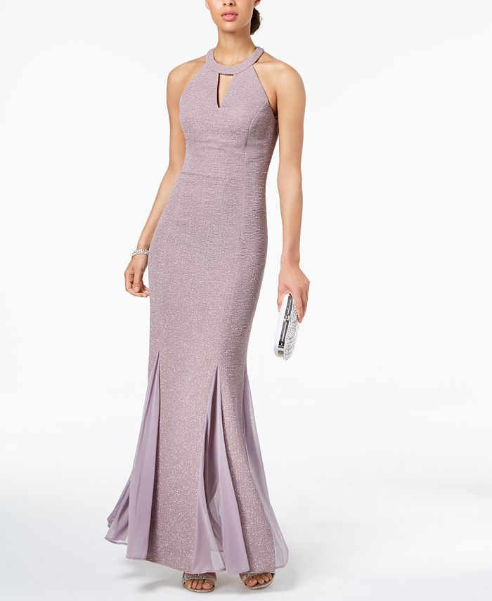Nightway - Glitter-Knit Teardrop Gown