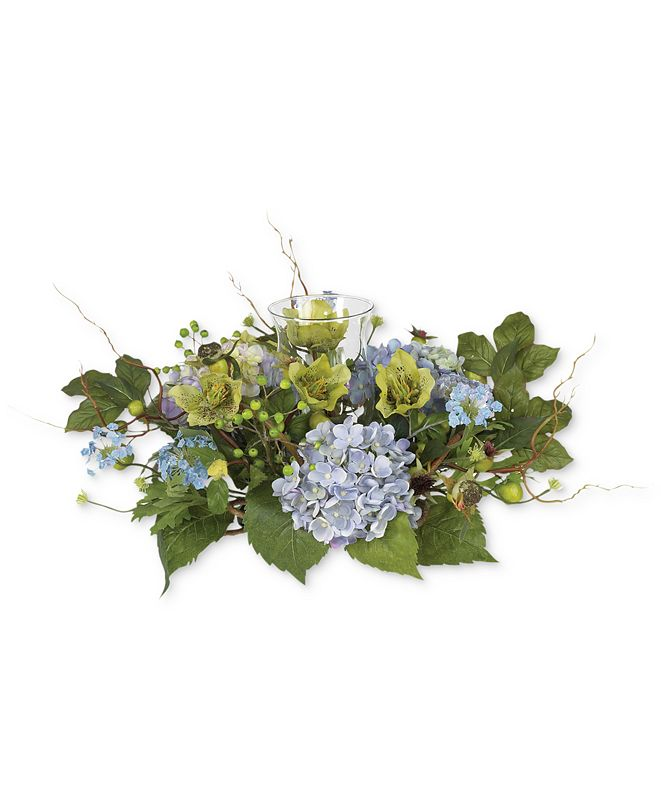 Nearly Natural Hydrangea Candelabrum Artificial Centerpiece Arrangement