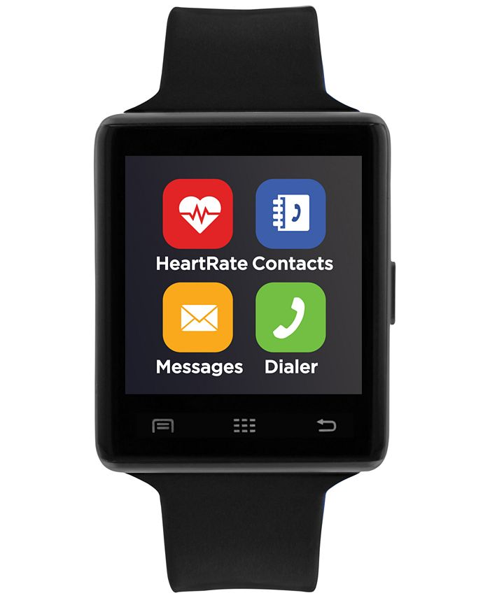 iTouch - Unisex Air 2 Black Silicone Strap Bluetooth Smart Watch 45mm